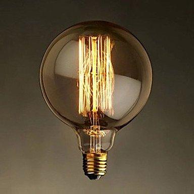 FDH E27 40W G125 Fil droit grande ampoule ampoule Ampoules décoratives rétro Edison,110-240V