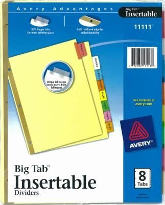 Avery Dividers Assorted 8 Count 12 Pack