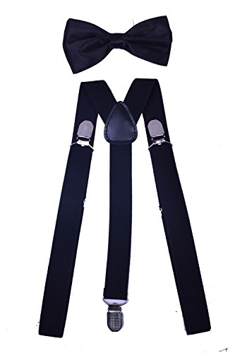 WDSKY Men's Suspenders with Clips Mens Tuxedo Suspenders Bowtie Black Solid