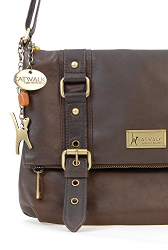 Marrón bandolera ABBEY Cuero Bolso CATWALK COLLECTION ROAD wS67xqnYT