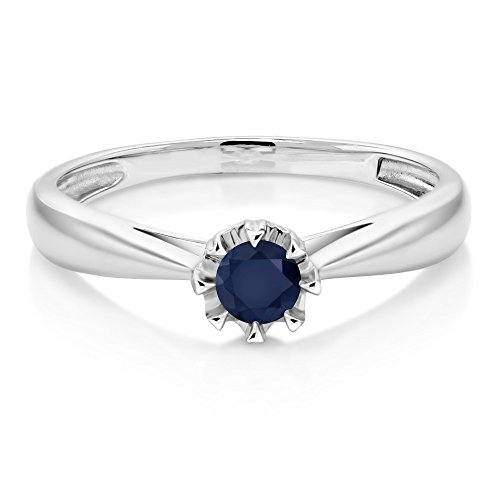 Blue Sapphire Gold 18k Ring - 18K White Gold 0.24 Ct Round Blue Sapphire Solitaire Engagement Ring