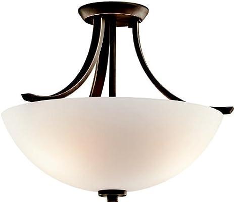 Kichler 42563oz Granby Round Glass Semi Flush Ceiling Lighting 3 Light 225 Watts Olde Bronze Semi Flush Mount Ceiling Light Fixtures Amazon Com
