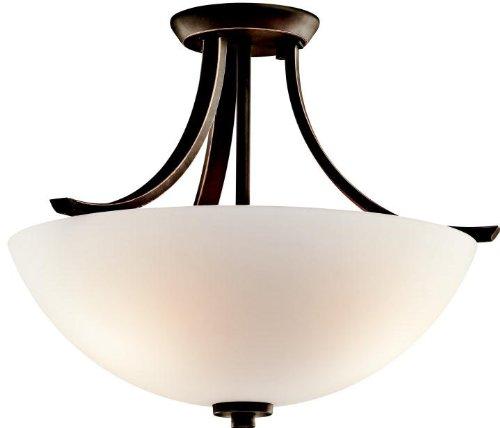 Kichler 42563OZ, Granby Round Glass Semi Flush Ceiling Lighting, 3 Light, 225 Watts, Olde Bronze