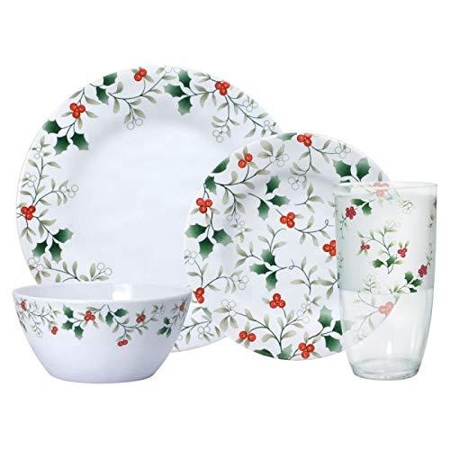 Pfaltzgraff Winterberry 32 Piece Melamine Dinnerware Set, Service for 8