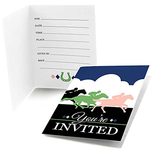 Big Dot of Happiness Kentucky Horse Derby - Fill in Horse Race Party Invitations (8 Count)