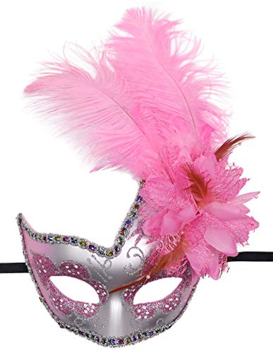 Women's Feather Masquerade Mask Venetian Halloween Mardi Gras Costumes Party Ball Prom Mask (ZA Silver Pink)]()