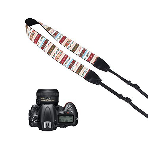 Pleter Flower Floral Striped Cotton Canvas Fabric Neck Shoulder Strap Camera Strap for DSLR, SLR, and Digital Camera, for Nikon, Canon, Samsung ETC 0189