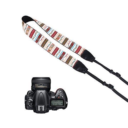 Pleter Flower Floral Striped Cotton Canvas Fabric Neck Shoulder Strap Camera Strap for DSLR, SLR, and Digital Camera, for Nikon, Canon, Samsung ETC 0189