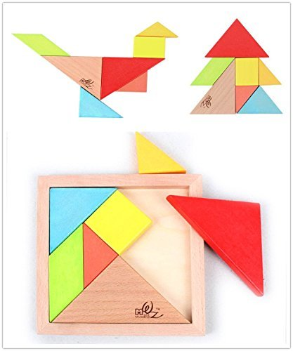 FunnyTown 7-Piece Brain Training Geometric Jigsaw Puzzle 3D Wooden Colorful Intelligence Development Kids Toys Adult Toys