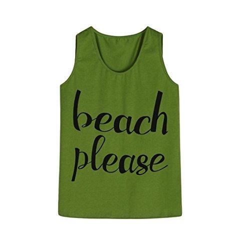 ZEZKT Beach Please Printed Tank Top Ärmelloses Rundhals T Shirt Damen Weit Shirts Oberteile Tops Frauen Schöne Ausgefallene Coole T Shirts Print Damentops Sommer Fitness Grün