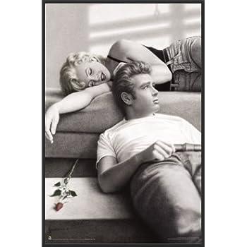 Amazon.com: James Dean & Marilyn Monroe (Rose) 24x36 Wood Framed ...