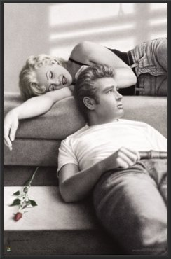 James Dean & Marilyn Monroe Rose Wood Framed Poster