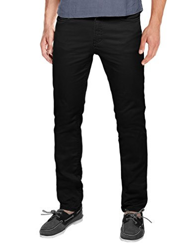 Slim Chino Pants - Match Men's Slim Fit Straight Leg Casual Pants(30, 8102 Black)