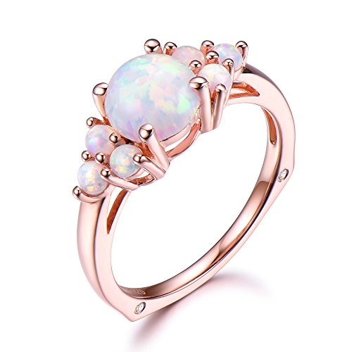 Opal Engagement Ring 925 Sterling Silver Rose Gold Plated 7mm Round Cut Unique Cluster Stone Plain Band by Milejewel Opal Engagement Ring