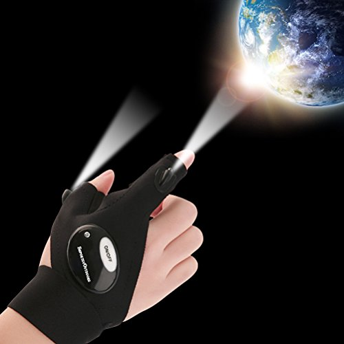 Sportsvoutdoors LED Flashlight Magic Strap Fingerless Gloves with 2 LED light for Repairing in Darkness Places and Outdoor Activities Essential Equipment