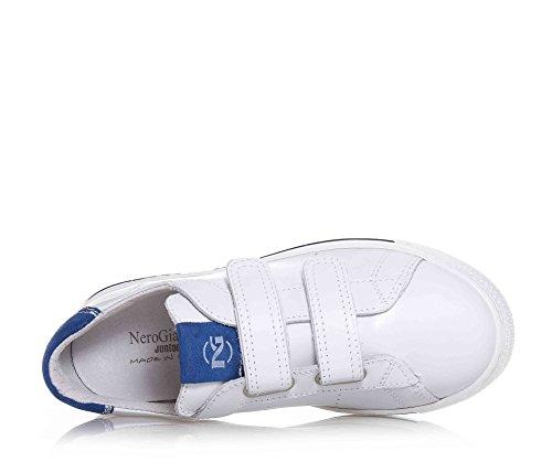 bleu suède avec GIARDINI garçon logo blanche en la garçons insert NERO sur velcro languette Chaussure cuir enfant en w7g6A6q