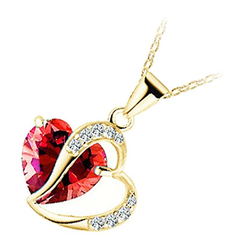 GWG 18K Gold Plated Zircon Ruby Red Heart Crystal Behind Heart Adorned with White Stones Love Pendant Necklace for Women