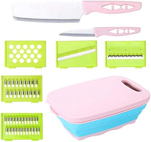 Collapsible Cutting Board 9-in-1 Multifunctional Strainer Container with 5 Mandoline Vegetable Slicer Cutters 2 Knives and 1 Collapsible Colander for Kitchen/Outdoor Pink