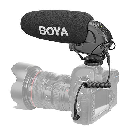 (BOYA BY-BM3031 On-Camera Shotgun Condenser Microphone Mic Supercardioid 3-Level Gain Control Low-Cut Filter 3.5mm Plug with Windscreens Carry Pouch for DSLR Cameras Camcorders Audio Recorders)