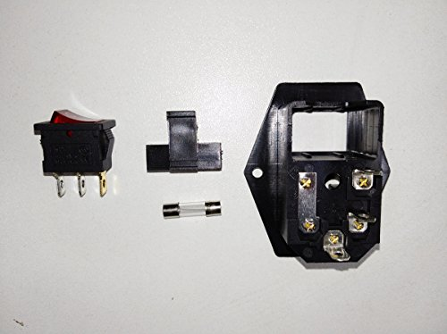 BVPOW Inlet Male Power Socket with Fuse Rocker Switch, 5A Fuse 3 Pin IEC320 250V 10A C14 Inlet Module for Computer and Home Appliance Power Accessory 2 PCS by BVPOW (Image #2)