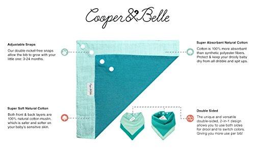 Cooper & Belle PRIZM 4-Pack Baby Bandana Bibs 100% Cotton Muslin Reversible and Super Absorbent Drool Bibs