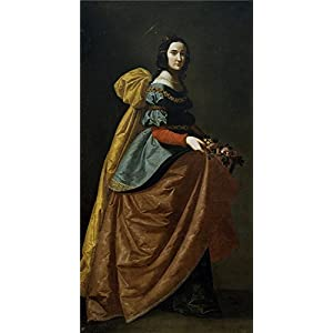 Oil Painting 'Zurbaran Francisco De Santa Isabel De Portugal Ca. 1635' 10 x 19 inch / 25 x 49 cm , on High Definition HD canvas prints is for Gifts And Dining Room, Home Office And Kids Room decor