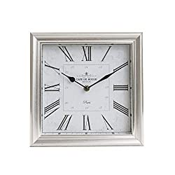 10 Brushed Silver Roman Numeral Square Tabletop Clock