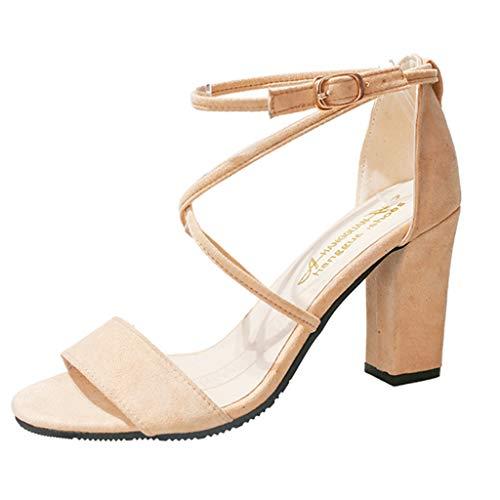 (Respctful✿Women High Heels 2019 Open Toe Ankle Straps Chunky High Heel Sandals Summer Open Toe Adjustable Pump)