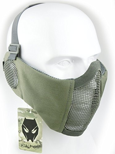 ATAIRSOFT Tactical Airsoft CS Protective Lower Guard Mesh Nylon Half Face Mask with Ear Cover FG