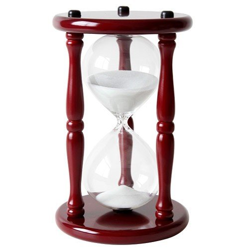GW Schleidt Cherry Wooden Stand 60 Minute Hourglass Sand Timer with White Sand 9 1/2