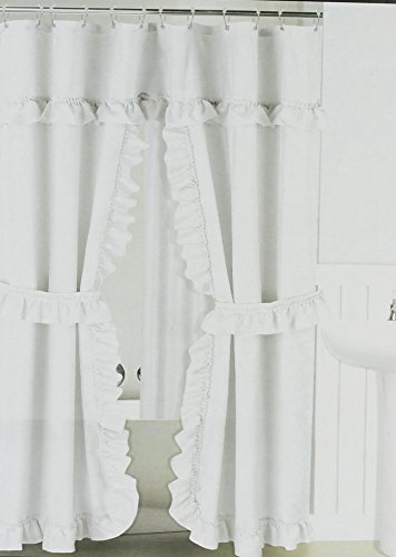 Better Home White Ruffled Double Swag Shower Curtain & Liner 70