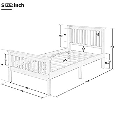 Harper&Bright Designs Wood Platform Bed with Headboard/Footboard/ Wood Slat Support/No Box Spring Needed Twin