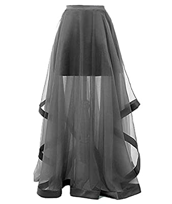 Duraplast Women's Long Skirt A-line Tulle Sheer Cascading Ruffles
