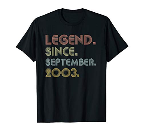 Legend Since September 2003 16th Birthday Gifts 16 Year Old T-Shirt (Birthday Presents For 16 Year Old Sister)