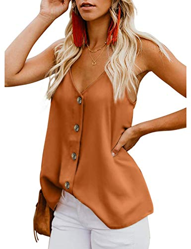 Women's Button Down V Neck Strappy Tank Tops Loose Casual Sleeveless Shirts Blouses Orange ()
