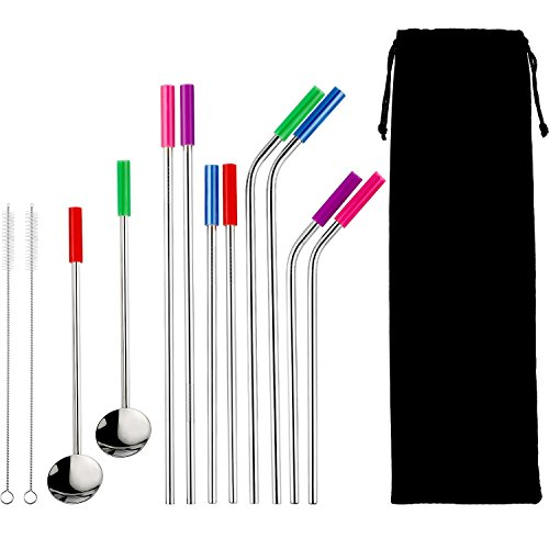 (Hotop Stainless Steel Straws Beverage Drinking Metal Straws with Silicone Tips and Brushes Spoon-Style Straights Storage Bag)