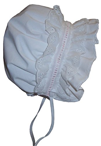 Price comparison product image N'Ice Caps Baby Girls Puffy Eyelet Bonnet With Elastic Back (6-9 months,  white / pink)