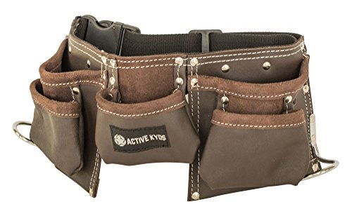 Active Kyds Leather Kids Tool Belt/Childs Tool Pouch for Costumes Dress Up Role Play (Oil Tanned)