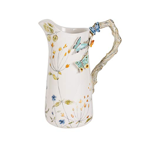 Fitz and Floyd 5237213 Butterfly Fields Pitcher, 2 quarts, Assorted
