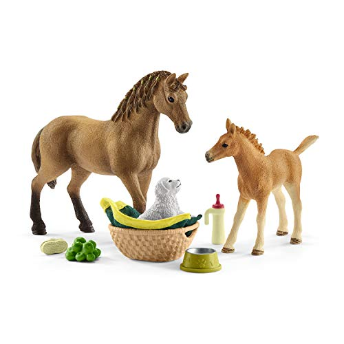 Schleich Horse Club Sarah's Baby Animal Care Figurine Toy Play Set, Multicolor ()