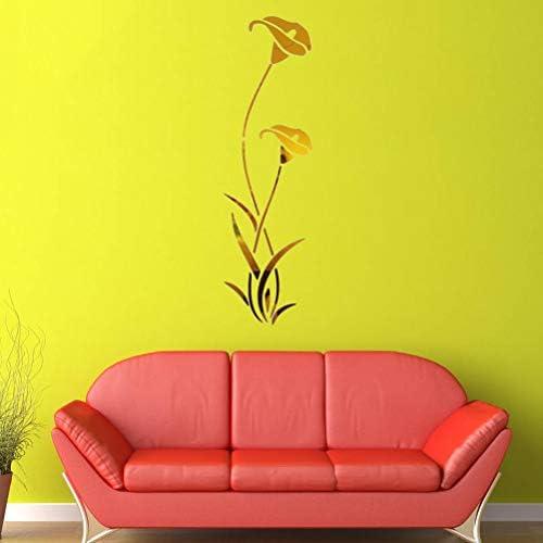 Adesivo murale in Acrilico 3D Adesivo Specchio Giglio di Calla Adesivo Decorativo Ecologico per Camera da Letto Soggiorno Decorazione Bagno Dorato