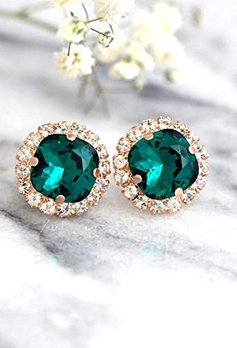 04acea524 Amazon.com: Bridal Emerald Green and Rose Gold Stud Earrings, Swarovski  Crystal Handmade Wedding and Party Jewelry, Bridesmaids Gifts: Handmade