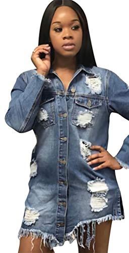 Button Denim Donna Giacche Jeans Jitong Di Lunghe Down Cappotto Strappato Distressed Giacca Blu qYIgw15