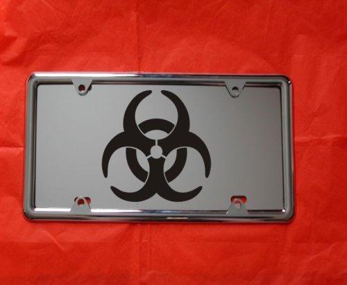 Biohazard Laser Mirror Engraved License Plate