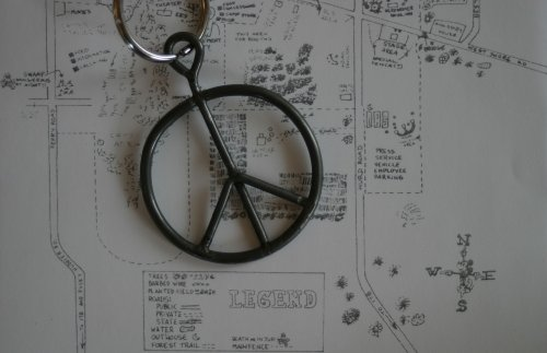 Authentic Woodstock Festival & Concert Fence Peace Sign Pendant from the Original BETHEL WOODS CENTER FOR THE ARTS site, 1969!