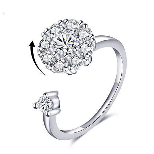 Silver Ring for Girls Women White Gold Spinner Ring for Anxiety CZ Rotating Rings Promise Cubic Zirconia Rings (Silver Band Ring)