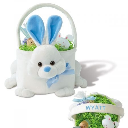 Personalized Boys Plush Blue Bunny Basket - 9