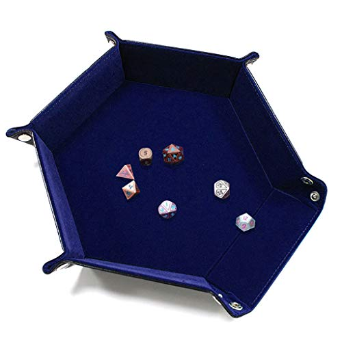 Price comparison product image Transser Dice Tray Portable Folding Dice Rolling Tray for DND Dice Tray D&D Dice Tray or Dice Game (Blue)