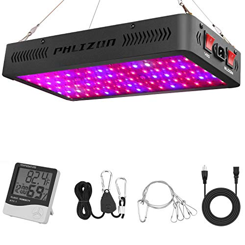 Phlizon Newest 900W LED Plant Grow Light,with Thermometer Humidity Monitor,with Adjustable Rope,Full Spectrum Double Switch Plant Light for Indoor Plants Veg and Flower- 900W(10W LEDs 90Pcs) (Best Led Grow Lights For The Price)
