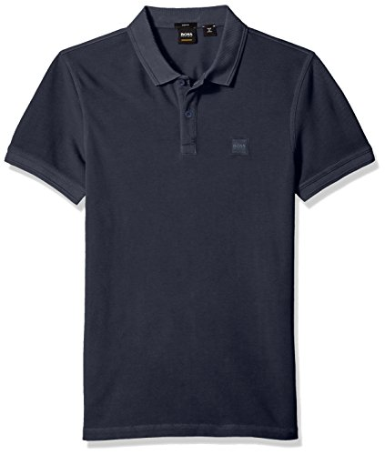 BOSS Orange Men's Short Sleeve Slim Fit Garment Dyed Chest Logo Patch Polo, Navy, Small